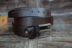 Men's Belt/Leather Belt/Cowhide Leather Belt/Dark by rateaa
