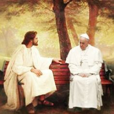 Famous image of Jesus sitting on a bench is photoshopped with Pope Francis!