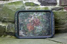 Rustic Tolle Painted Black Metal Serving Tray by NorthMajestyTrail