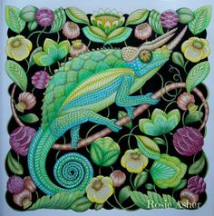 Jacksons Chameleon From By Millie Marotta Beautifully Coloured Rosie Asher Find This Pin And More On Curious Creatures