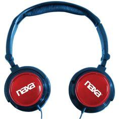 Naxa 2-in-1 Combo Super Bass Stereo Headphones & Earbuds (red)