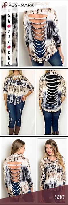 """Tie Dye Hi Low Shredded Button Up Top SM A sexy twist to your tie dye top💋Soft stretchy taupe, back & Ivory tie dye with silver bottoms & slits all along back. Wear with or without cami/tank depending on your look.  Hi low style  96% rayon 4% spandex. New from maker without tags S M  Small Bust 32-34"""" Front Length 22"""" Back 27""""  Medium Bust 34-36"""" Front Length 23"""" Back  28"""" Tops Button Down Shirts"""