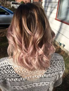 Rose pink ombre' pastel pink dusty rose loose curls beachy hair