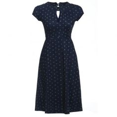 'Juliet' Navy Clover Print Tea Dress