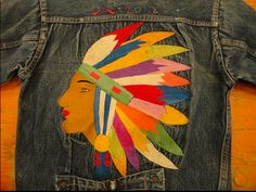 Vintage customized jean jacket - embroidered artwork
