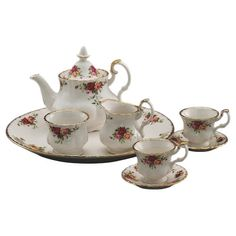 Royal Albert Old Country Roses Le Petite Miniature 9 Piece Teapot Set
