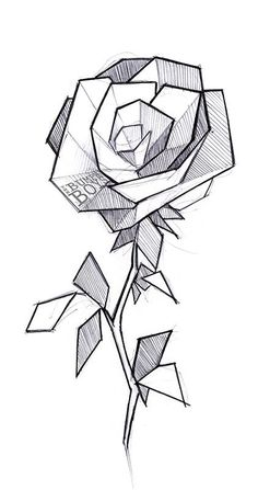 geometric tattoo drawings 3d drawing flower rose flowers boys sketches abstract pencil modern designs discover paper