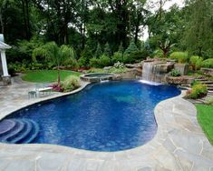 Backyard Swimming Pool With Boulder Waterfall Design  Bergen County NJ    Contemporary   Pool   New York   By Cipriano Landscape Design U0026 Custom  Swimming ...