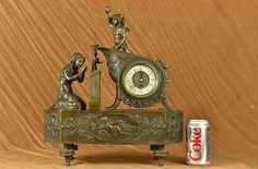 Signed Moreau French Mantle Clock of Maiden and Cupid  Bronze Sculpture Statue