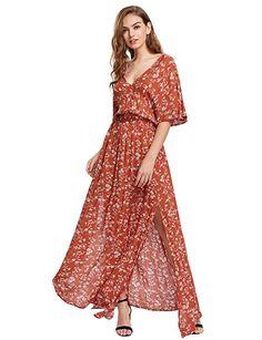 Milumia Women's Boho Split Tie-Waist Vintage Print Maxi Dress (Large, Orange-Red)