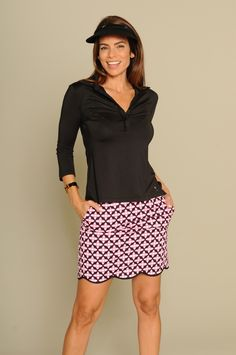 c2043999aa37da Shop Pink and Black Scalloped Golftini Fierce Stretch Cotton Golf Skort  Electric Golf Cart, Skort