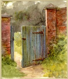 Helen Allingham. Study of a wooden garden door; wooden gate, intercepted by grass lined path, open and between two stone pillars, wall continues at r Watercolour, touched with gum