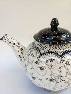 Tea Time in Black and White. Handpainted.