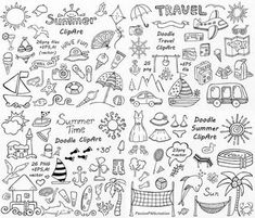 BIG SET of Doodle Summer cliparts Hand drawn vacation clipart Digital clip art png eps ai vector clipart Personal and Commercial use Doodle Drawings, Doodle Art, Doodle Frames, Cartoon Drawings, Sketch Notes, Clip Art, Scrapbook, Bullet Journal Inspiration, Grafik Design
