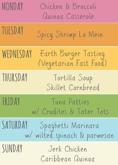 This Week's Meal Plan - lots of fun flavors kids will love