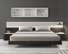 The premium Porto Platform Bedroom Collection by J&M Furniture features an elegant design beautifully mixing a natural light grey lacquer finish which looks striking against the natural wenge wood veneer. The headboard shows off uniquely carved diagonal l