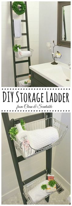 When you're looking to add storage to a small bathroom, think vertical! A DIY ladder is perfect to hang small baskets to corral items, as well as a great place to hang extra towels.