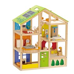 $158 Amazon.com: Hape - All Seasons Doll House - Furnished Wood Playset: Toys & Games