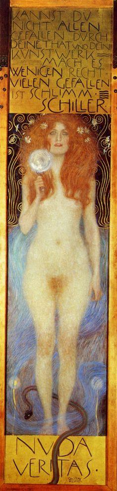 Gustav Klimt-Nuda Veritas, 1899 En esta obra Klimt presenta por ver primera a la mujer como imagen simbólica exclusiva. No encarna tan solo un significado abstracto, una alegoría, sino que además se exhibe a sí misma y a su erotismo.