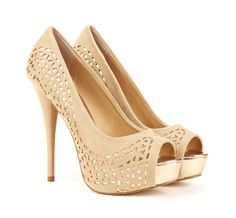 Peep toe pump with cut out overlay $49.95