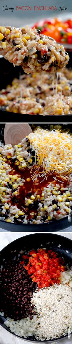 The BEST Mexican Rice!  and as EASY as simmer rice with onion, garlic, tomatoes, green chilies and black beans then stir in cheese, corn, bacon and enchilada sauce!
