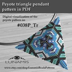 Peyote triangle patterns, pattern for triangle pendant, peyote patterns, beading, peyote stitch, digital file, pdf pattern #038P_Tr