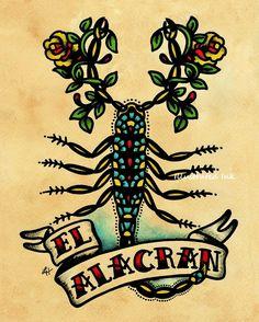 Old School Tattoo Art Scorpion EL ALACRAN Loteria Print 5 x 7. $10.50, via Etsy.