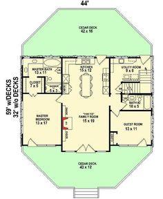 Deck Building Plans, Loft Floor Plans, Two Story Windows, Cedar Deck, Country Kitchen Designs, Kitchen Country, Rustic Kitchen, Bungalow House Plans, Diy Deck