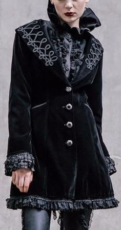 Embroidered Velvet Victorian Short Coat-Black or Wine Red