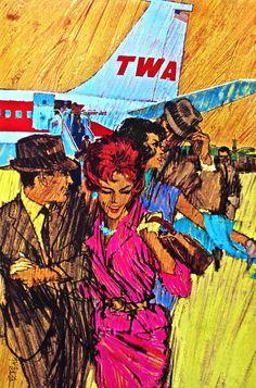 https://flic.kr/p/f7oHoR | Vintage Ad - 1960s TWA Airlines Illustration | www.artskooldamage.blogspot.com/