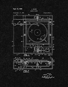 "Record Player Patent Print Art Poster Black Matte (8.5"" x 11"")"