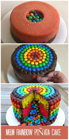 A super fun and easy M Rainbow Pinata Cake.  http://www.ifood.tv/video/m-m-rainbow-pinata-cake