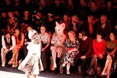From left: Massimo Sinato, Rebecca Mir, Lexy Hill, Maite Kelly, Florent Raimond, guest, Johanna Klum attend the Rebekka Ruetz show during Mercedes-Benz Fashion Week in Berlin, Jan 2014.