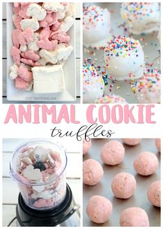 Cookie Truffles Recipe- pink and white dessert truffles idea for a baby s. - FoOd * FaMiLy *HoMe DIY & FuN -Animal Cookie Truffles Recipe- pink and white dessert truffles idea for a baby s. - FoOd * FaMiLy *HoMe DIY & FuN - White Desserts, Köstliche Desserts, Dessert Recipes, Birthday Desserts, Birthday Recipes, Freezer Desserts, Party Food Desserts, Pink Desserts Easy, Colorful Desserts