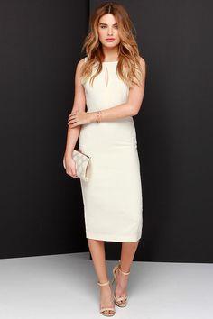 Black Swan Insider Cream Midi Dress at Lulus.com!