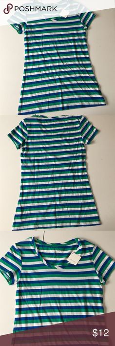 🆕BRAND NEW Blue & Green V-Neck Tee Brand: Willow Bay  Condition: Brand new with tags.  Size: Junior's Small  MSRP: $16  Material: 60% cotton, 40% rayon   Color: Blue, green & white stripes  ?Bundle and save?5%! ❌Price is firm unless bundled❌ Willow Bay Tops Tees - Short Sleeve