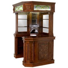 Corner Home Bar Furniture Solid Mahogany with Tiffany Glass Canopy Antique Replica