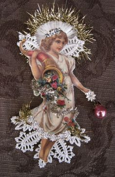 Vintage Christmas Ornament with Dresden Trims Victorian Die Victorian Christmas Ornaments, Antique Christmas, Vintage Ornaments, Handmade Ornaments, Christmas Paper, Diy Christmas Ornaments, Christmas Angels, Handmade Christmas, Christmas Tree Ornaments