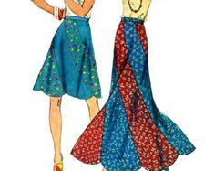 Simplicity 6261 1970s Misses Bias Swirl Skirt  Pattern Scalloped Hemline Womens Vintage Sewing Pattern Size 12 Waist 26
