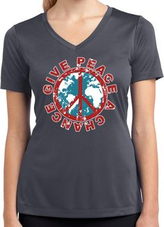f60886481b3 Ladies Peace Shirt Give Peace a Chance Moisture Wicking V-neck Shirt  CHANCE-LST353