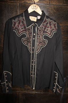 SCULLY Mens RETRO EMBROIDERED WESTERN SHIRT - M - Black #Scully #Western #Casual