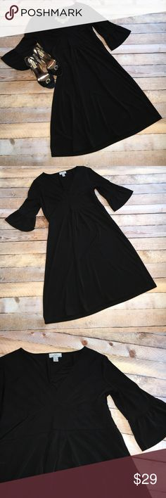 """LOFT Versatile LBD ✔️LOFT Versatile LBD ✔️Vneck, empire waist with Aline skirt and bell 3/4 sleeves  ✔️Under bust 14"""" (stretches to 17"""") ✔️Length from underarm to hem 27"""" ✔️96% Polyester 4% Spandex ✔️The stretch to this forgiving fabric allowed me to wear this dress when I was a 6 and an 8. It's perfect for both casual and formal events. LOFT Dresses Midi"""
