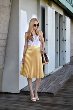 Zara Gold Accordion Pleats High Waist Midi A-skirt