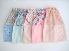 Cotton Drawstring Bag -  Florals & Stripes or Spots, Travel Bag, Cotton Storage Bag, Shabby Chic on Etsy, $12.86