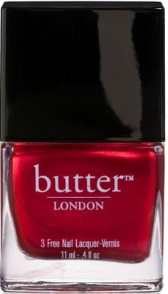 ALL butter LONDON products:  NO toluene  NO DBP  NO formaldehyde and NO ANIMAL INGREDIENTS OR TESTING!  Metallic Red Nail Polish – Knees Up : butter LONDON