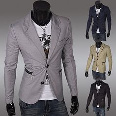 Two Button Slim Fit Blazer with Zip Pockets Blazers For Men, Slim, Pockets, Button, Fitness, Collection, Fashion, Sacks, Men