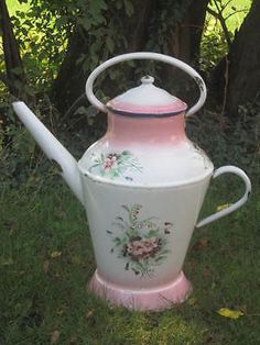 Rarissime-ANCIEN-ARROSOIR-EMAILLE-JAPY-Pink-Shading-Rose-Pensee-Decor-Cafetiere