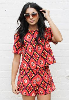 Folk Print Boxy Top with Red and Black