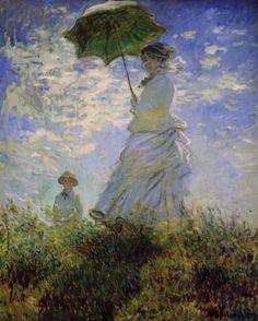 Художник - Клод Моне, картина «Женщина с зонтиком (Камилла Моне и сын Жан)»: Импрессионизм, Пейзаж