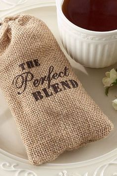 'the perfect blend' - burlap coffee bean favor bags. Cute for bridal or baby shower. For a baby is brewing theme?